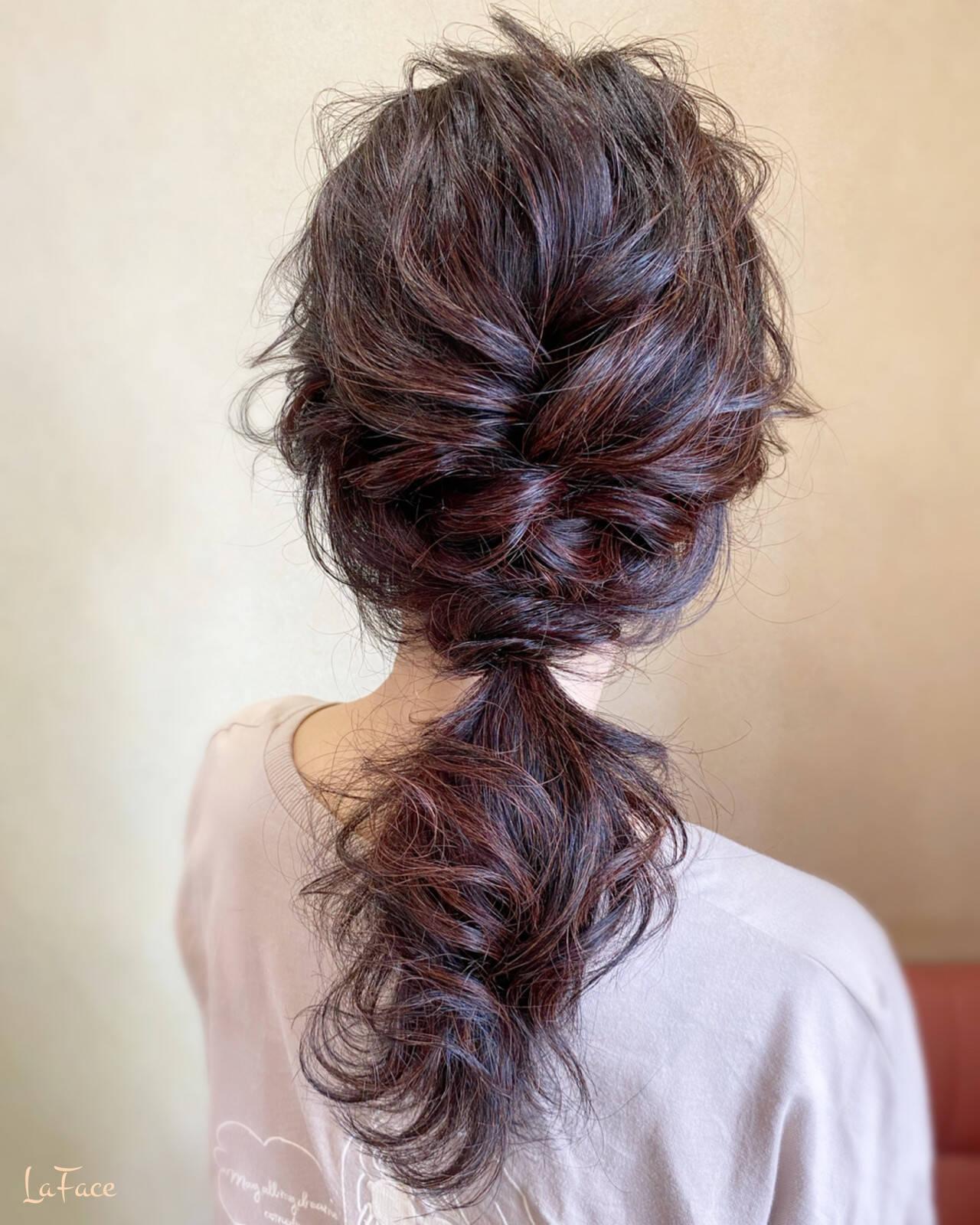 ポニーテール ロング ヘアアレンジ フェミニンヘアスタイルや髪型の写真・画像