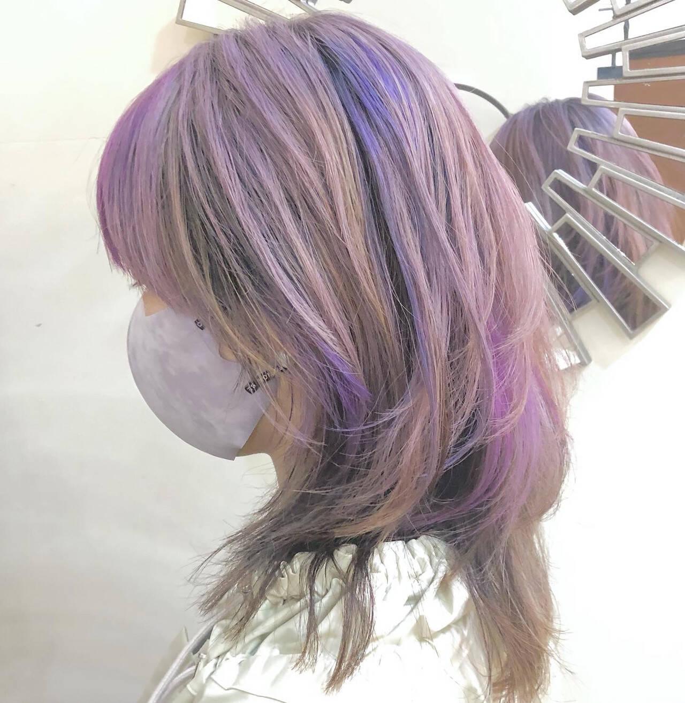 インナーカラー ハイライト ストリート ミディアムヘアスタイルや髪型の写真・画像