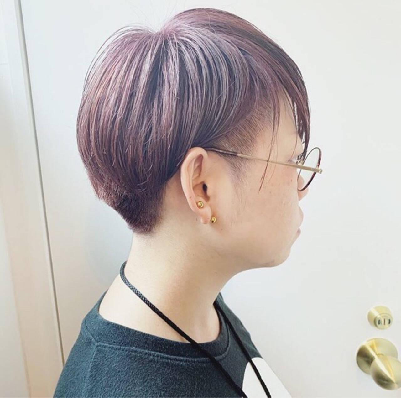 ショート ラベンダーアッシュ ラベンダーピンク ピンクラベンダーヘアスタイルや髪型の写真・画像