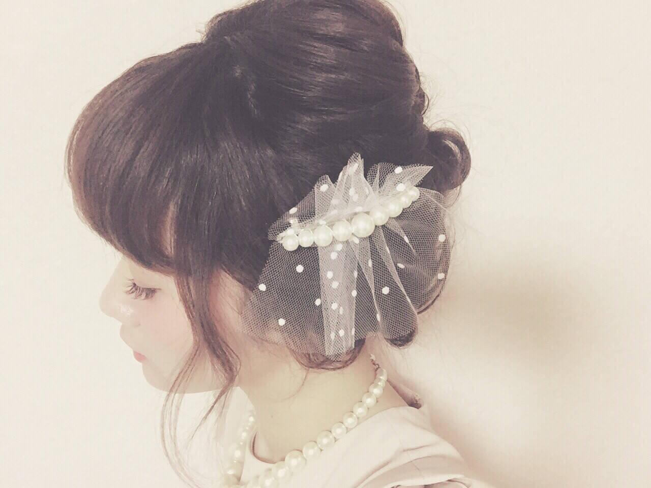 ミディアム フェミニン ショート 簡単ヘアアレンジヘアスタイルや髪型の写真・画像