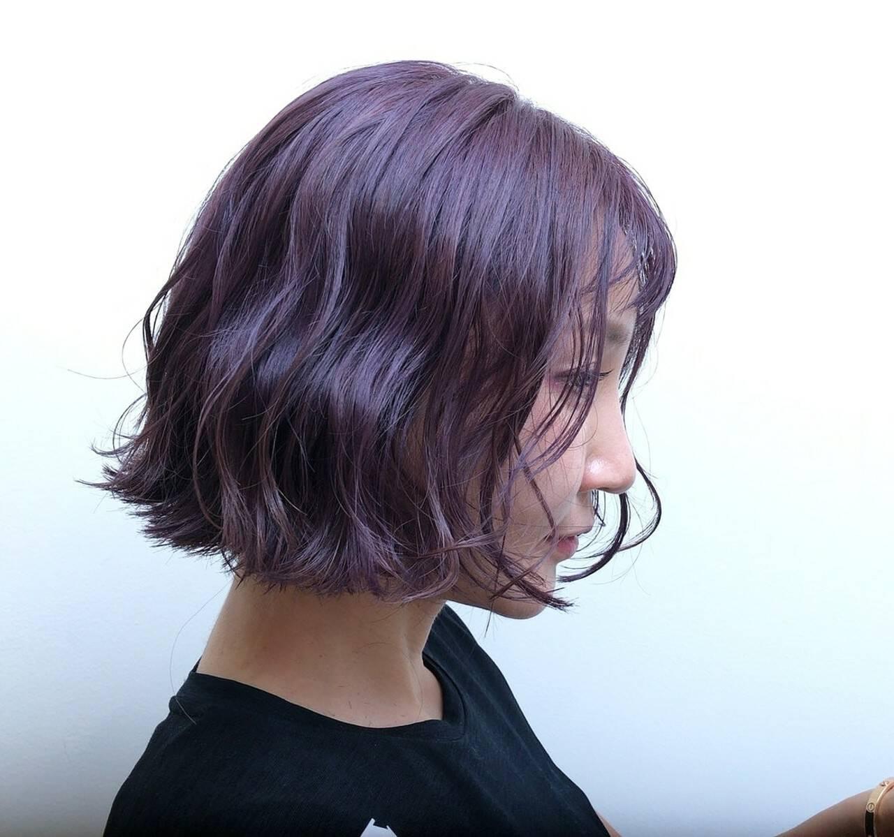 ストリート ボブ パープル ラベンダーアッシュヘアスタイルや髪型の写真・画像