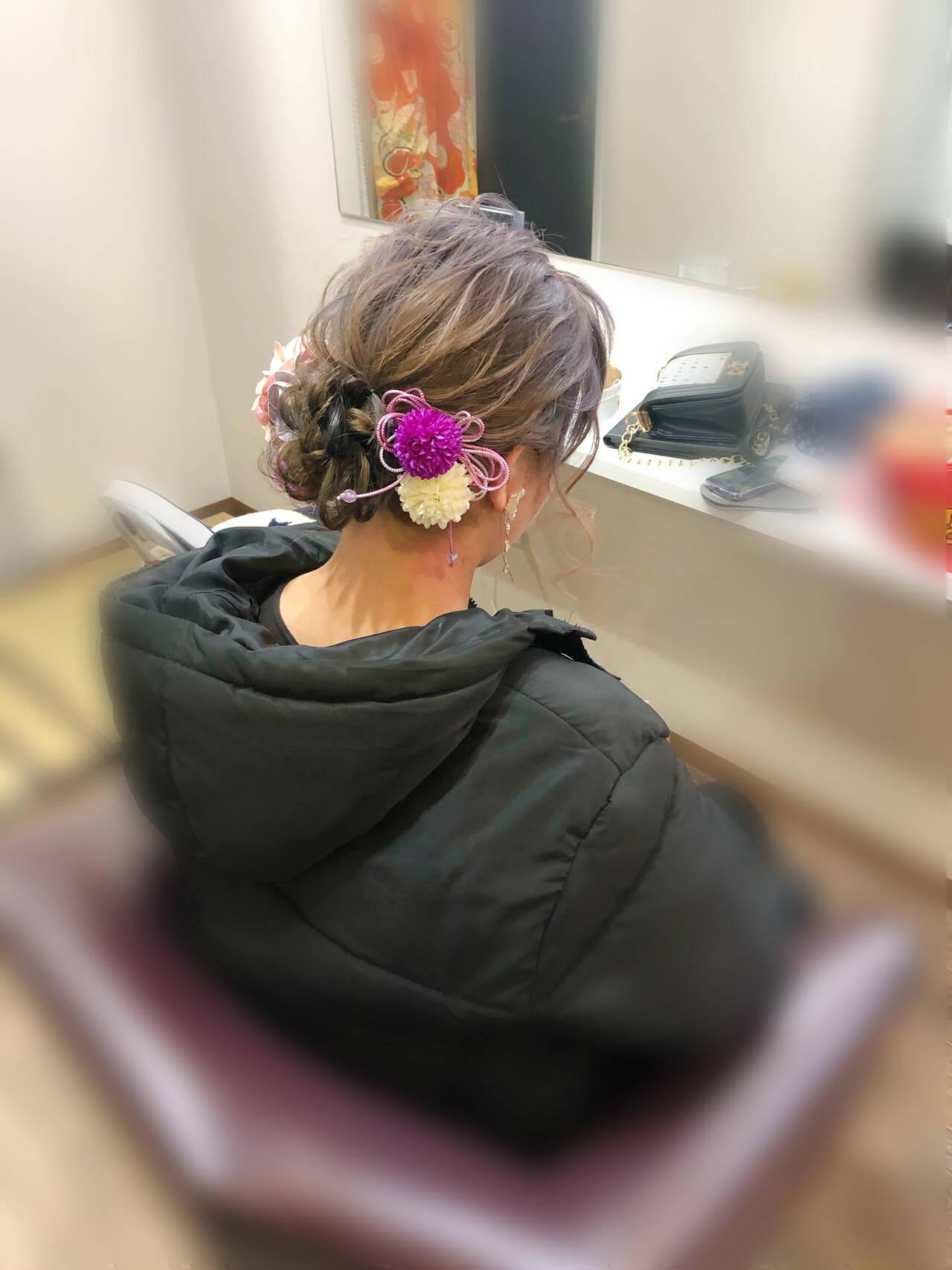 ミディアム ヘアセット アップ 成人式ヘアヘアスタイルや髪型の写真・画像