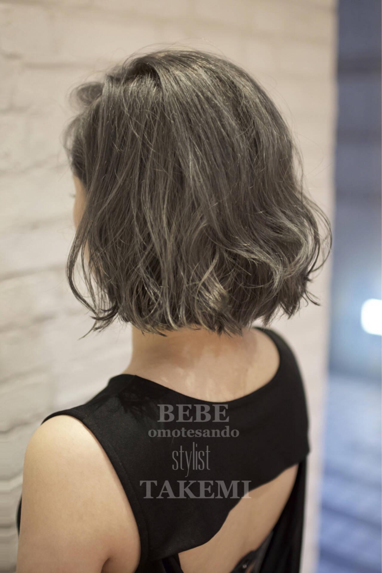 ナチュラル ボブ アッシュ ハイライトヘアスタイルや髪型の写真・画像
