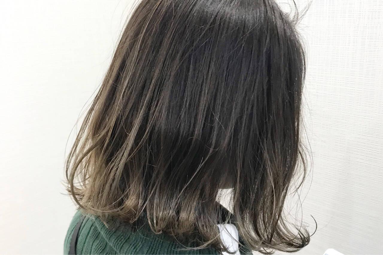 ローライト ボブ グラデーションカラー ハイライトヘアスタイルや髪型の写真・画像