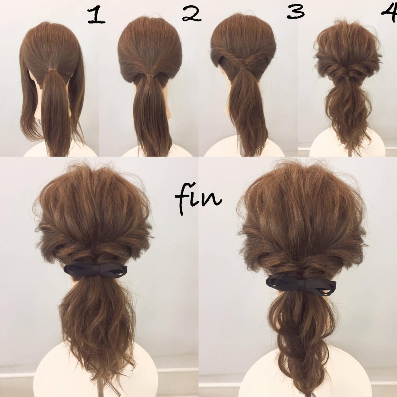 大人女子 ポニーテール ミディアム 簡単ヘアスタイルや髪型の写真・画像