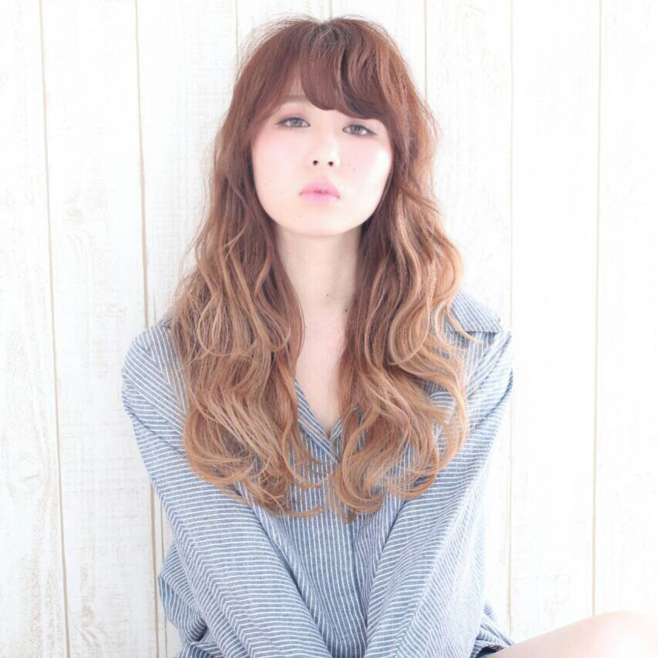 丸顔 おフェロ ロング モテ髪ヘアスタイルや髪型の写真・画像