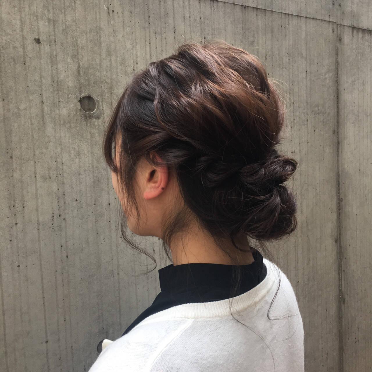 編み込み ヘアアレンジ 結婚式 フェミニンヘアスタイルや髪型の写真・画像