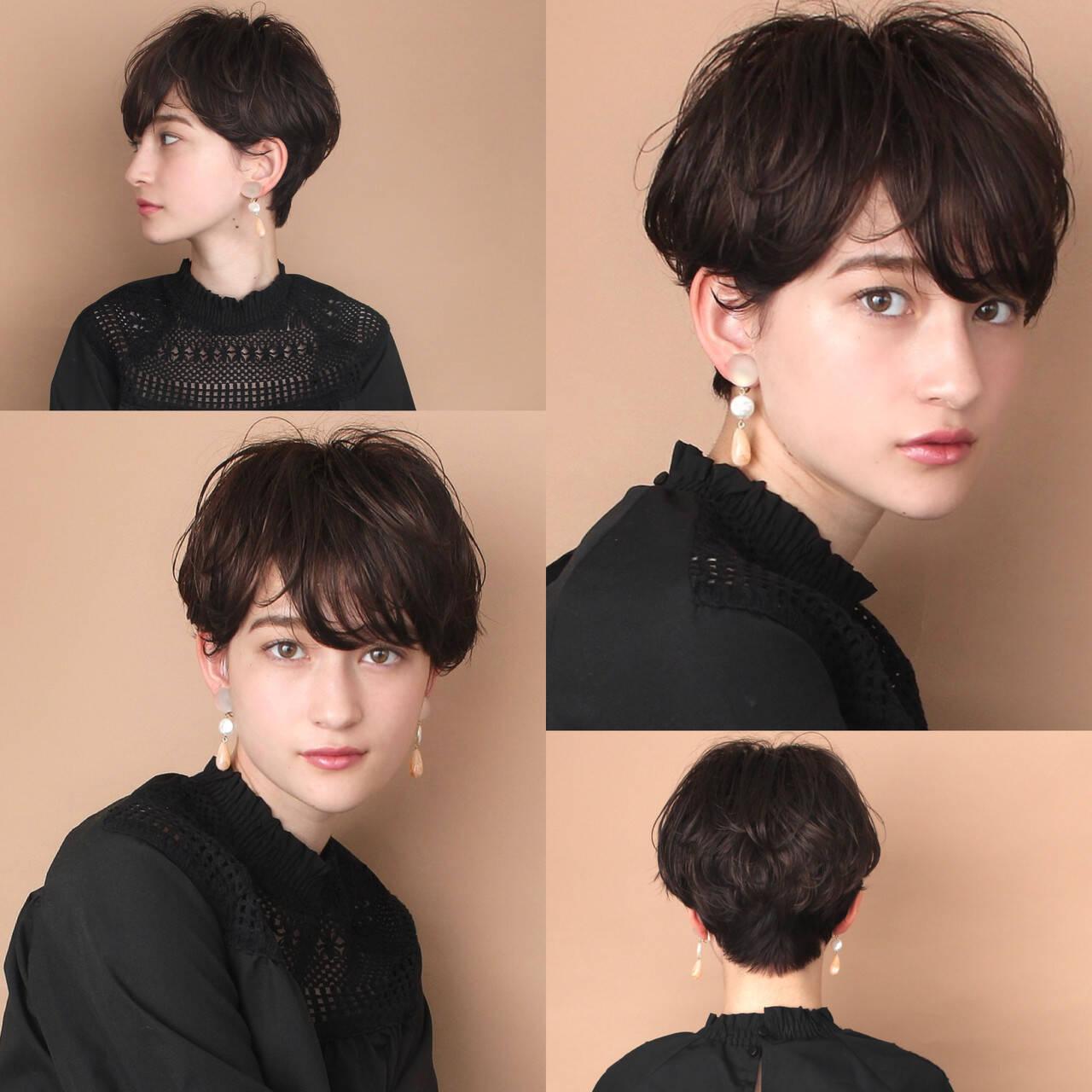 前髪 ショートヘア 30代 40代ヘアスタイルや髪型の写真・画像