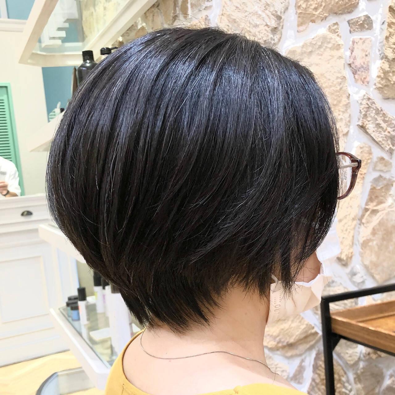 簡単スタイリング お手入れ簡単!! 多毛 ショートヘアスタイルや髪型の写真・画像