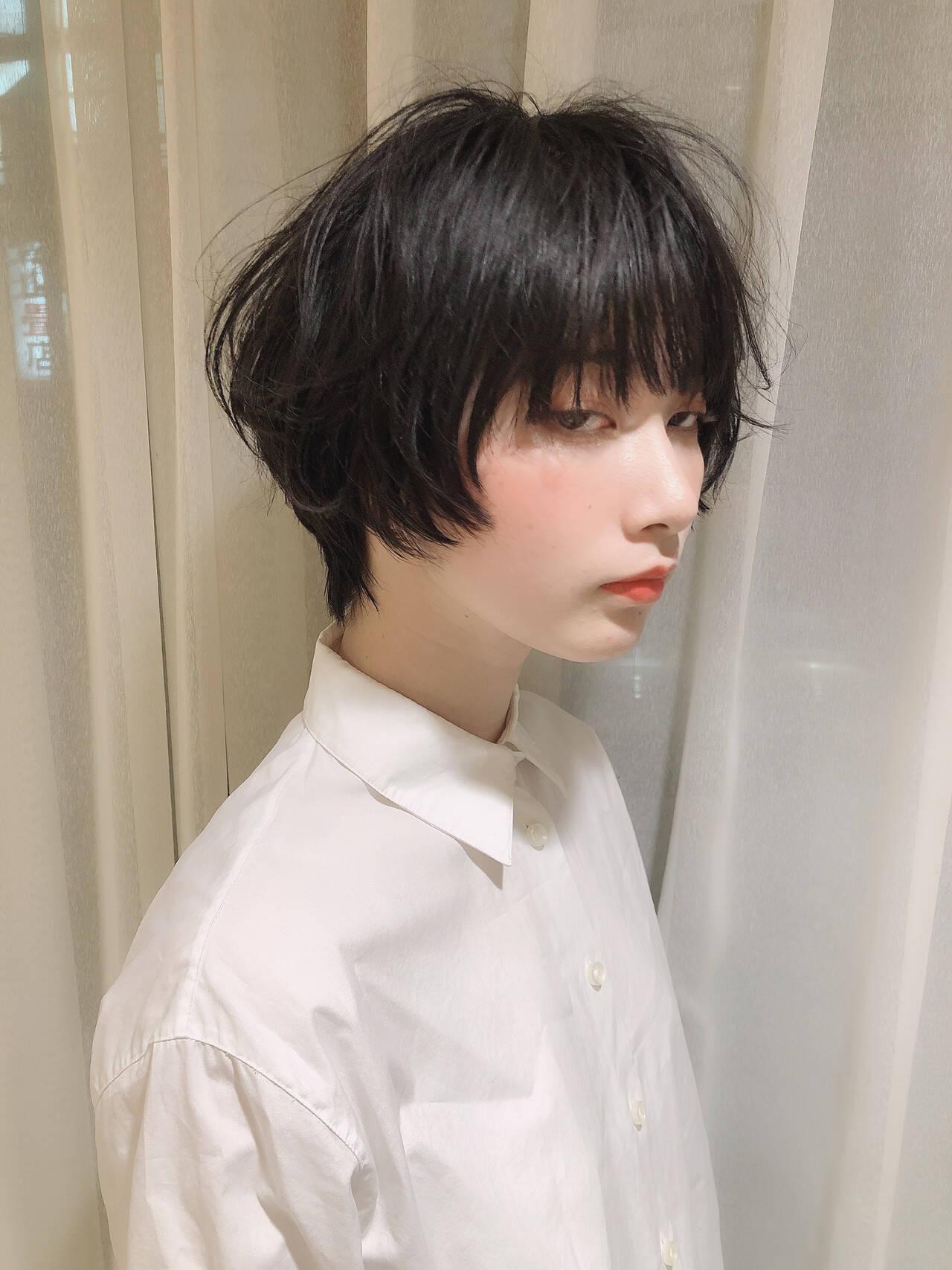 モード パーマ ショート デートヘアスタイルや髪型の写真・画像