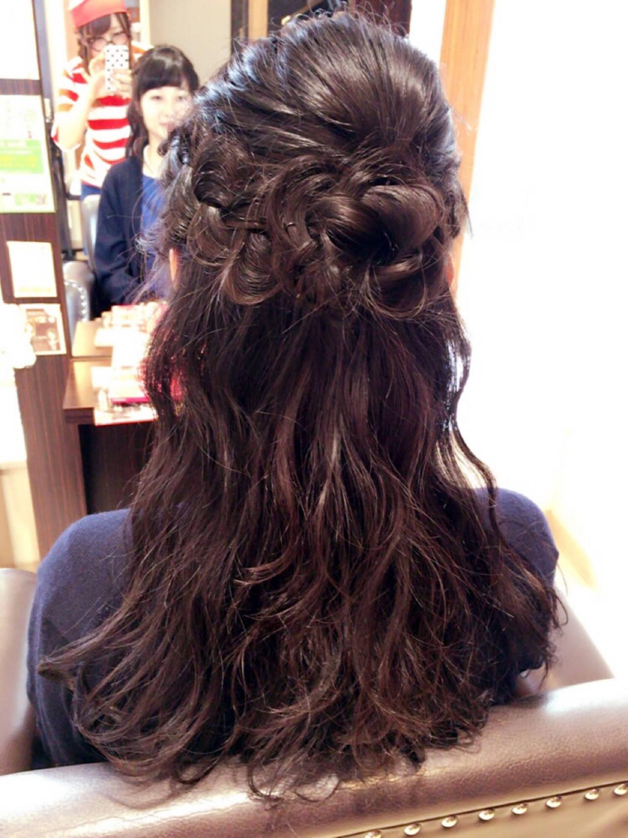 冬 セミロング ガーリー デートヘアスタイルや髪型の写真・画像