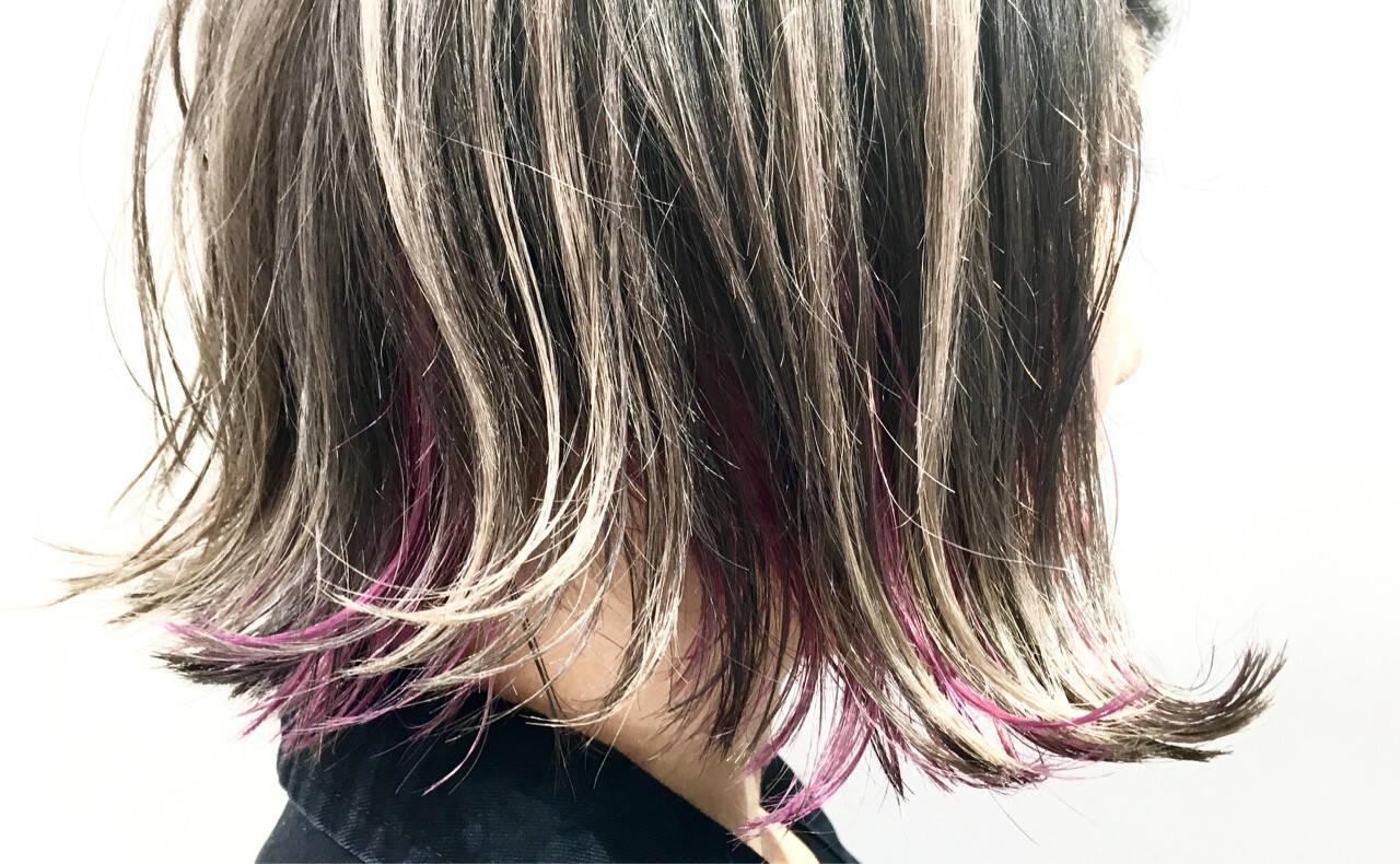 暗髪 ハイライト 外国人風 グラデーションカラーヘアスタイルや髪型の写真・画像