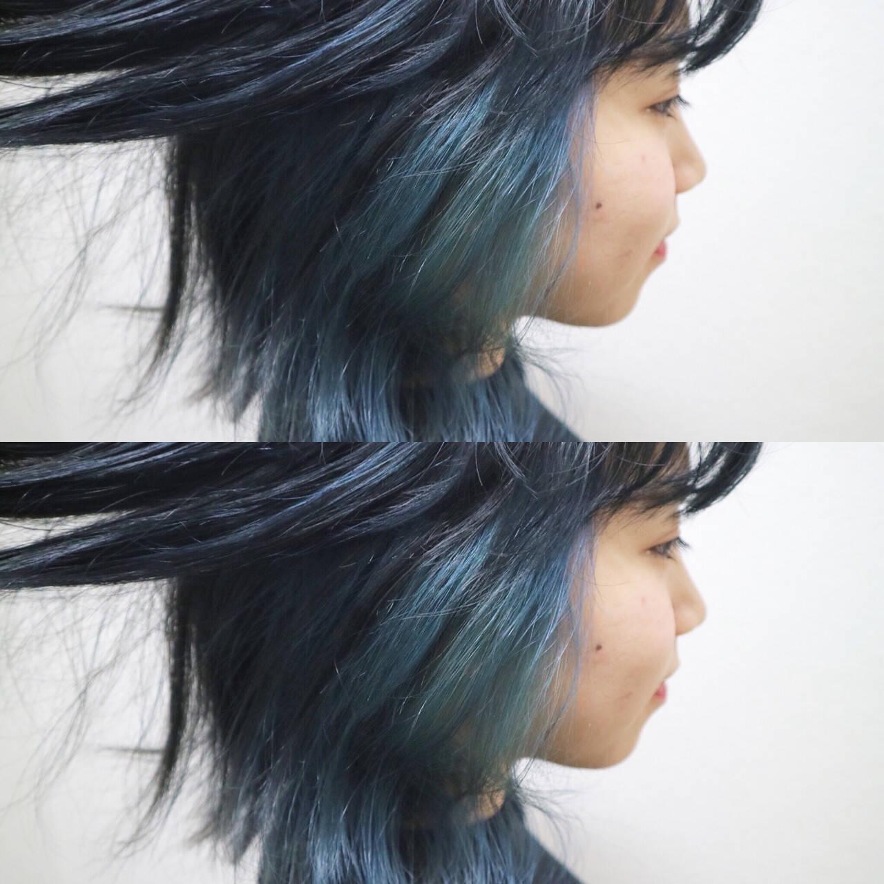 切りっぱなし こなれ感 インナーカラー 外ハネヘアスタイルや髪型の写真・画像
