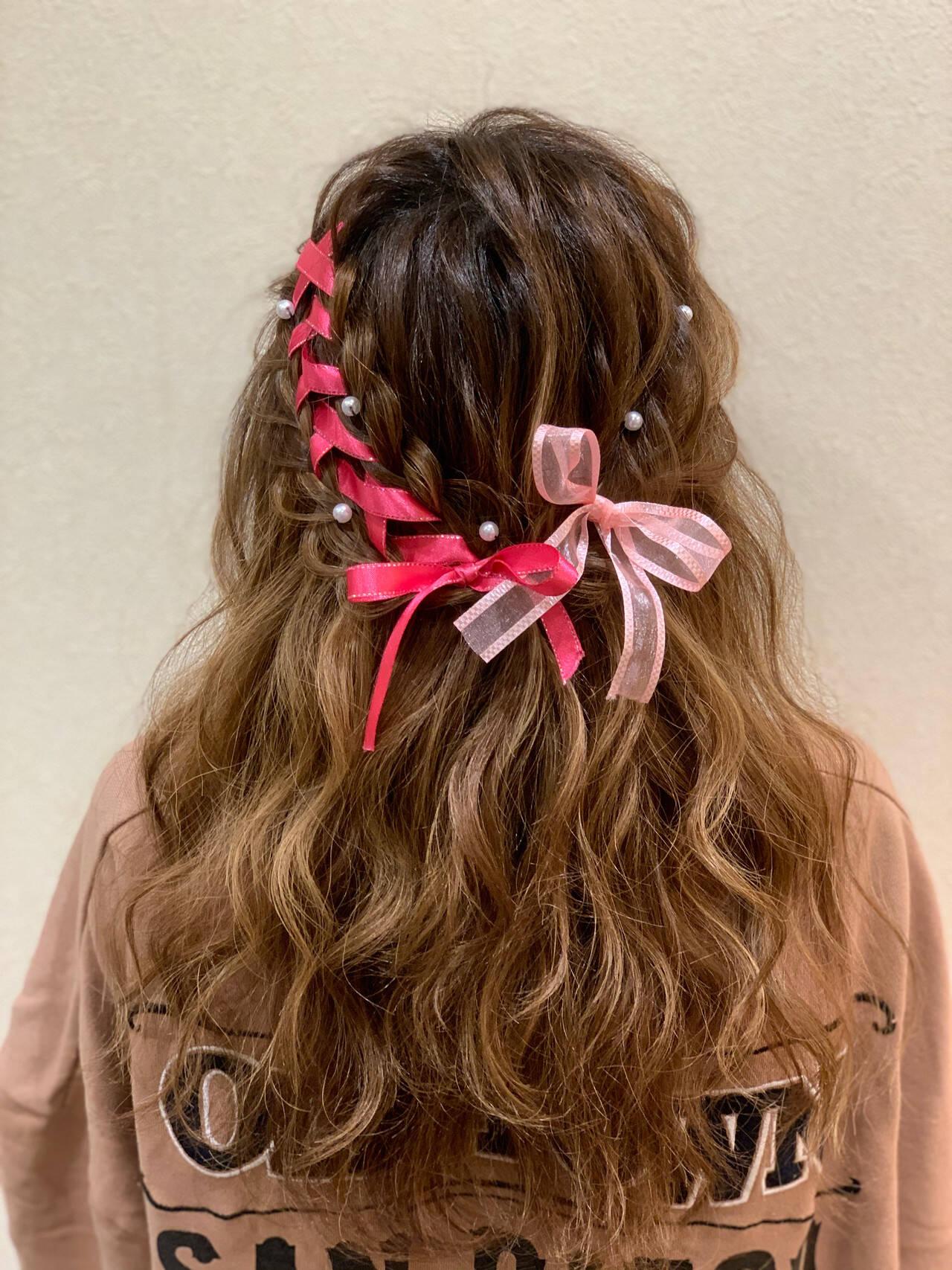 ボブ ふわふわヘアアレンジ ハーフアップ イベントヘアスタイルや髪型の写真・画像