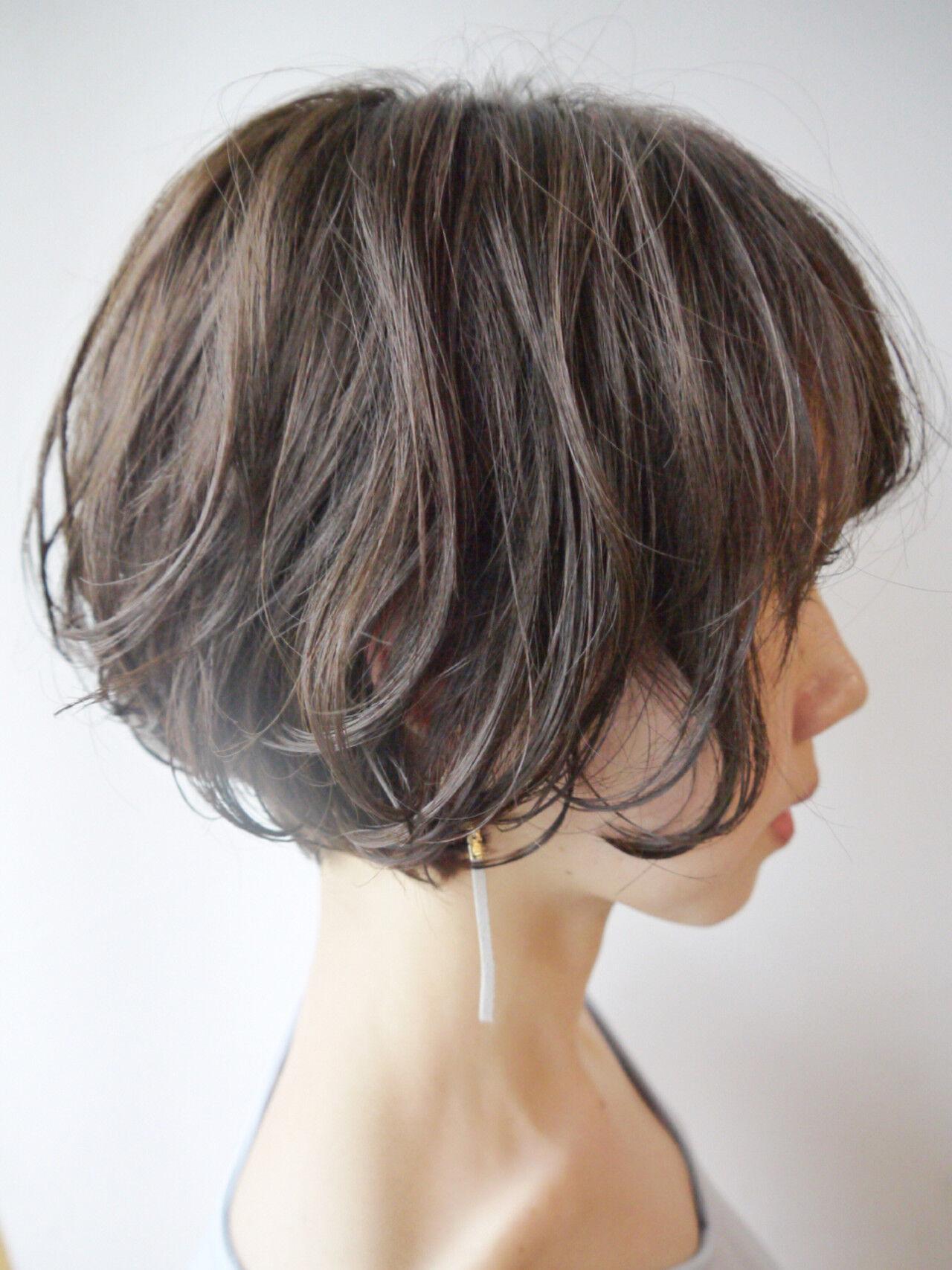 ショート ショートボブ パーマ ウェーブヘアスタイルや髪型の写真・画像