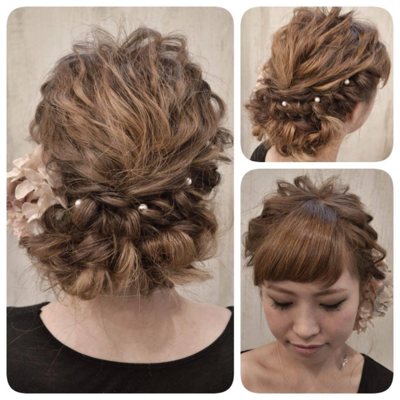 フェミニン ヘアアレンジ 結婚式 ロングヘアスタイルや髪型の写真・画像