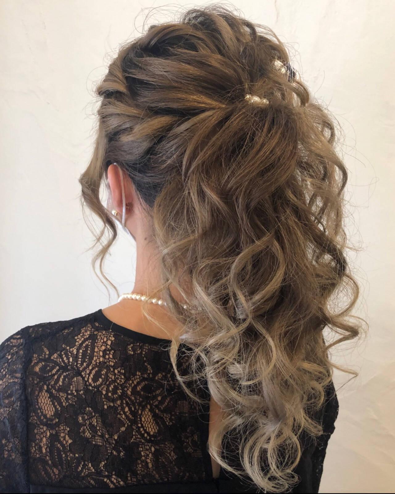 編み込みヘア 成人式ヘア コンサバ ヘアアレンジヘアスタイルや髪型の写真・画像