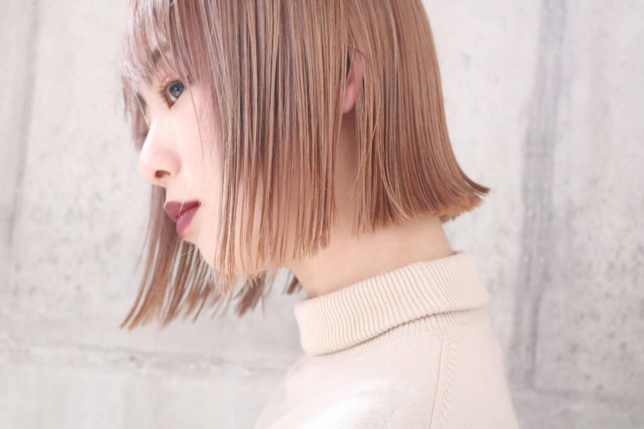 ラベンダーピンク コリアンピンク ボブ ショートボブヘアスタイルや髪型の写真・画像
