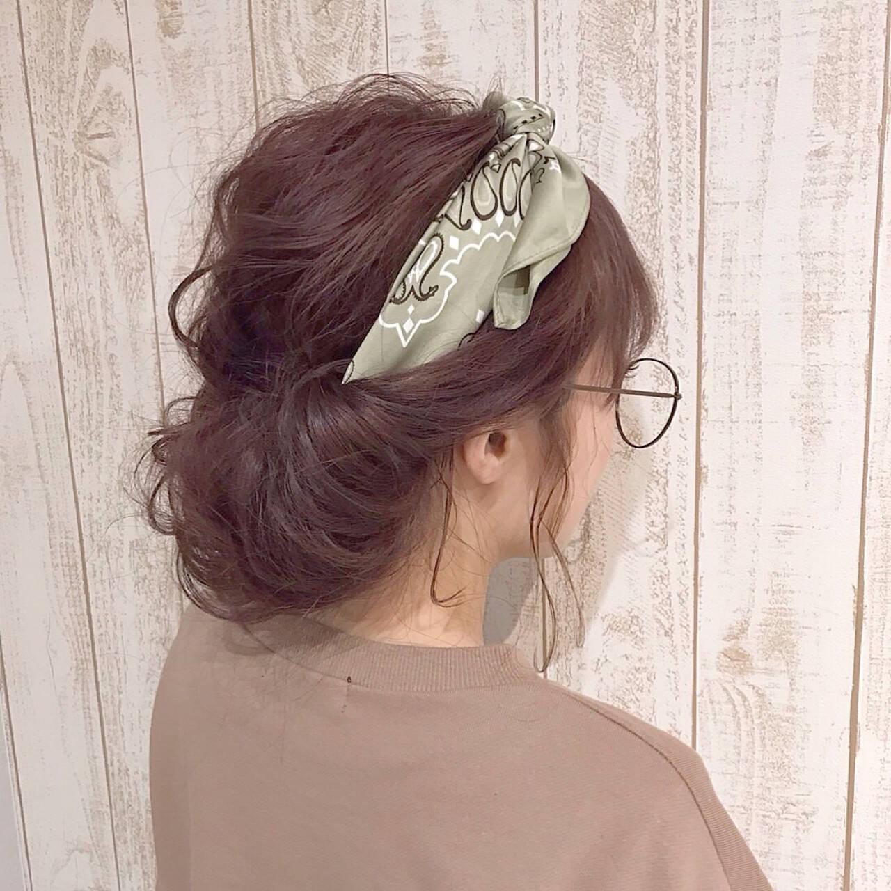 ニュアンス ヘアアレンジ セミロング ミルクティーヘアスタイルや髪型の写真・画像