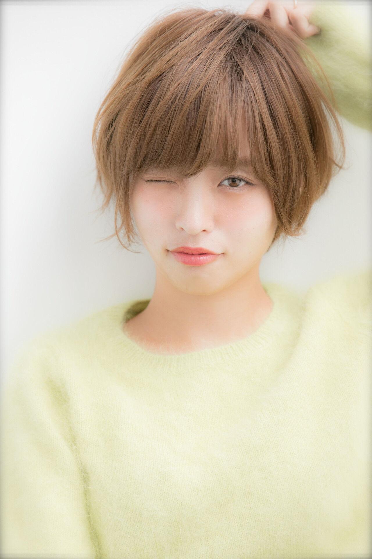 ショート 小顔ヘア ショートボブ 大人かわいいヘアスタイルや髪型の写真・画像