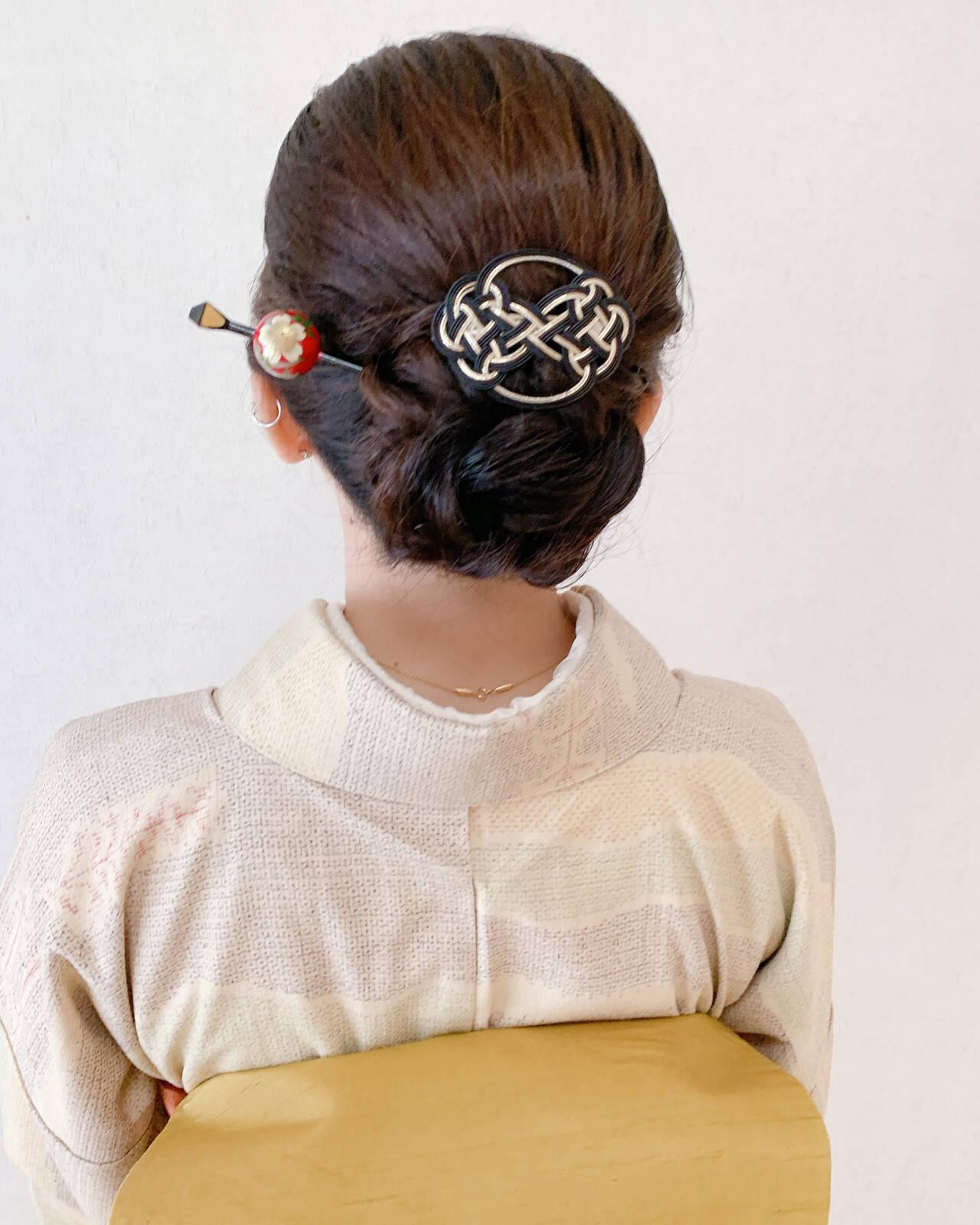 結婚式 訪問着 セミロング 和装ヘアヘアスタイルや髪型の写真・画像