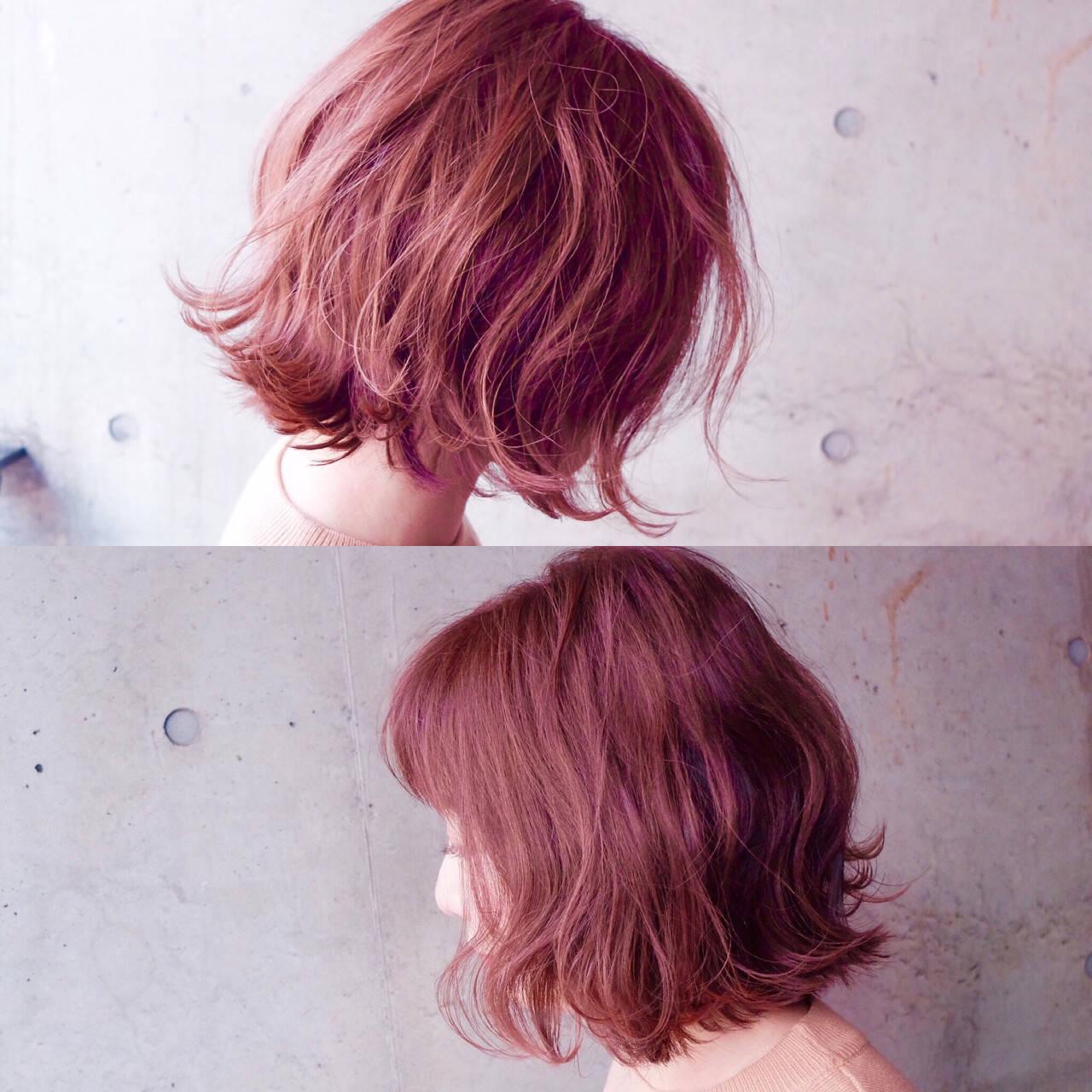 ストリート ボブ 色気 ベリーピンクヘアスタイルや髪型の写真・画像