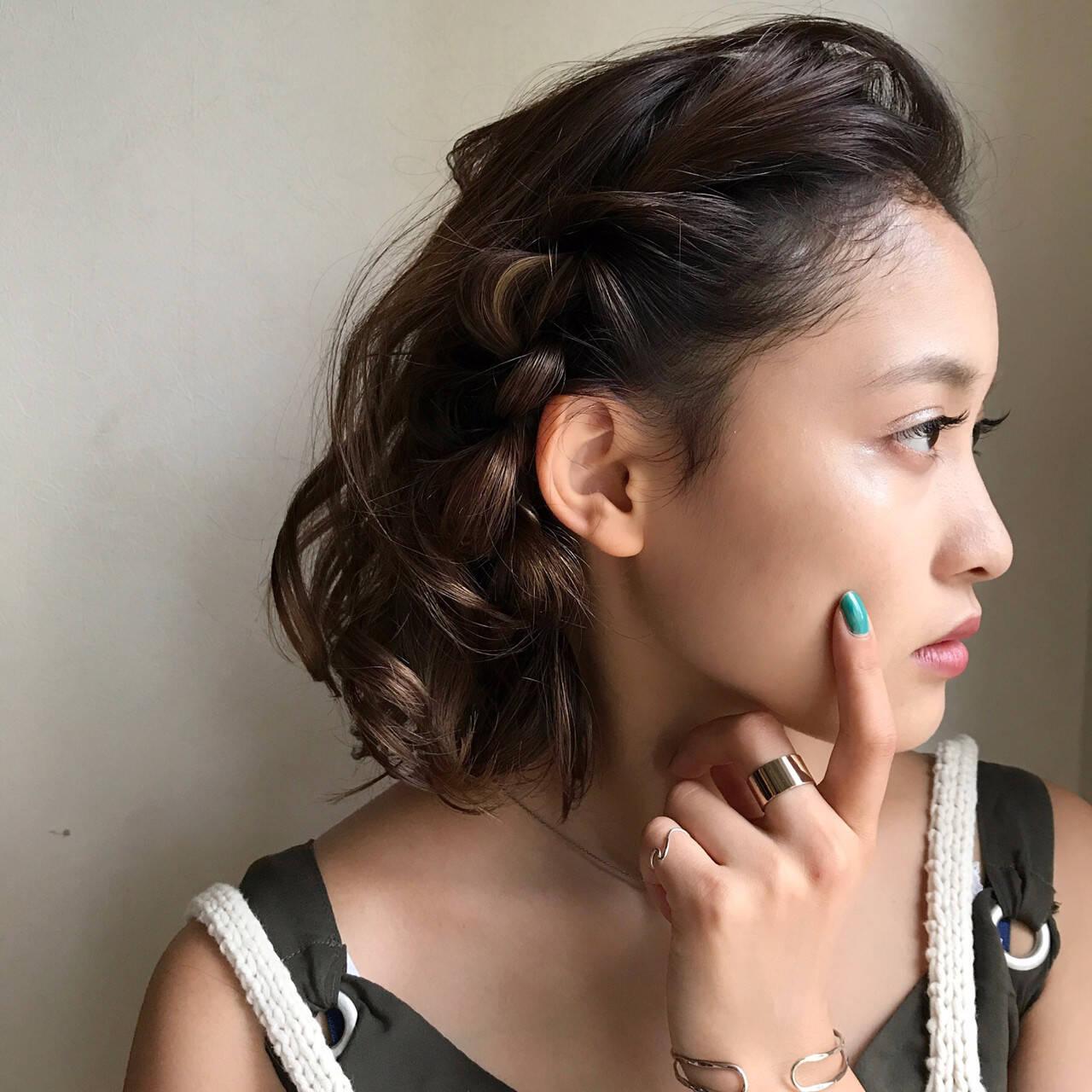 ボブ 大人女子 黒髪 簡単ヘアアレンジヘアスタイルや髪型の写真・画像