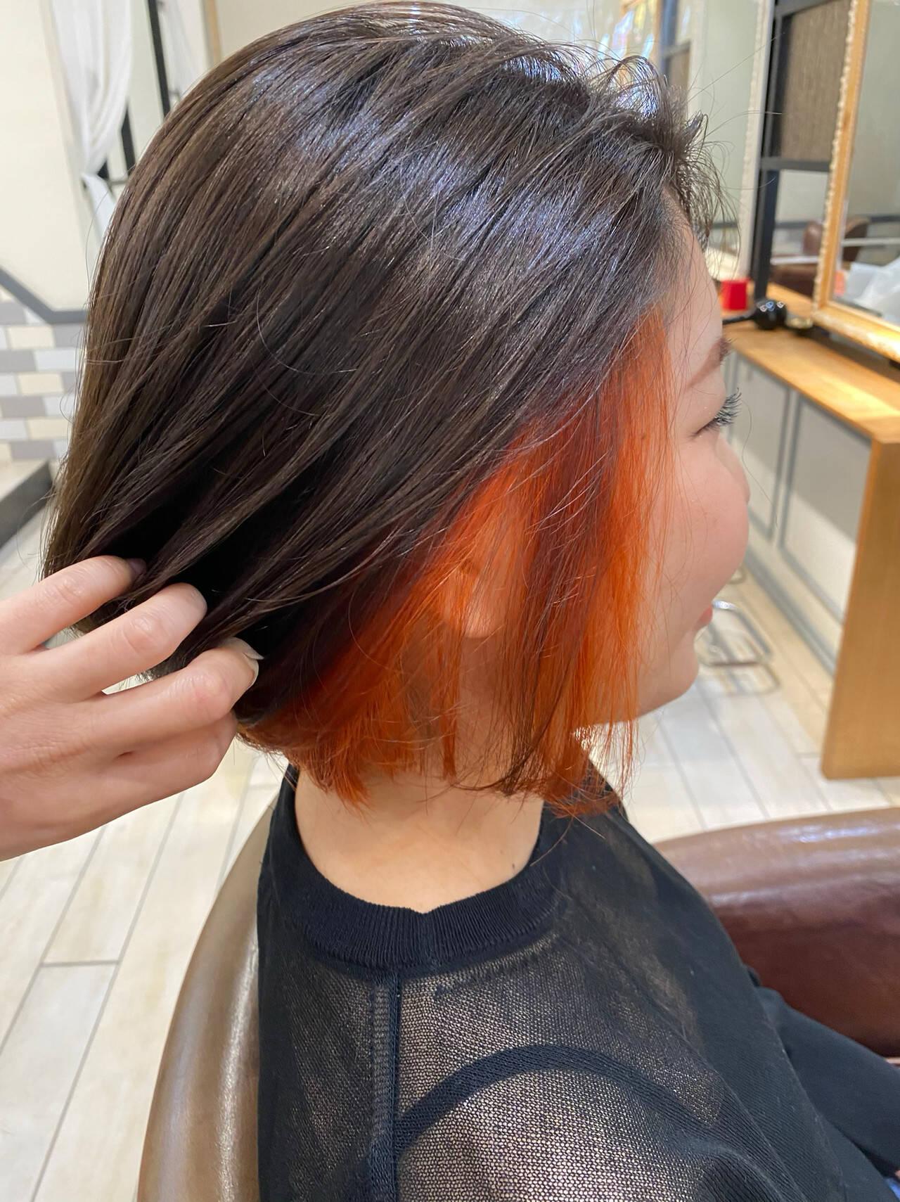 ハイトーン ブラットオレンジ ショートボブ ボブヘアスタイルや髪型の写真・画像