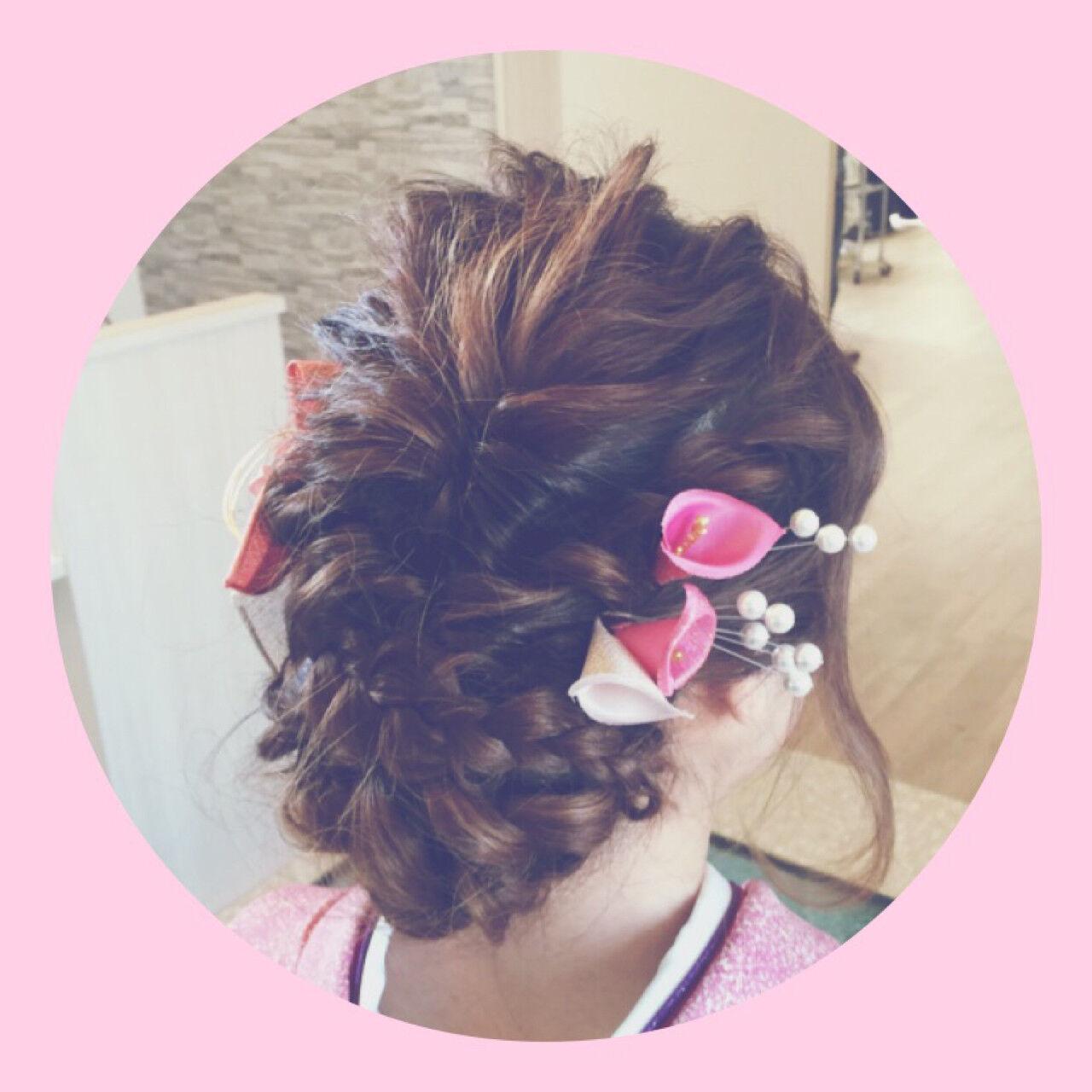 和装 ヘアアレンジ 編み込み ロングヘアスタイルや髪型の写真・画像