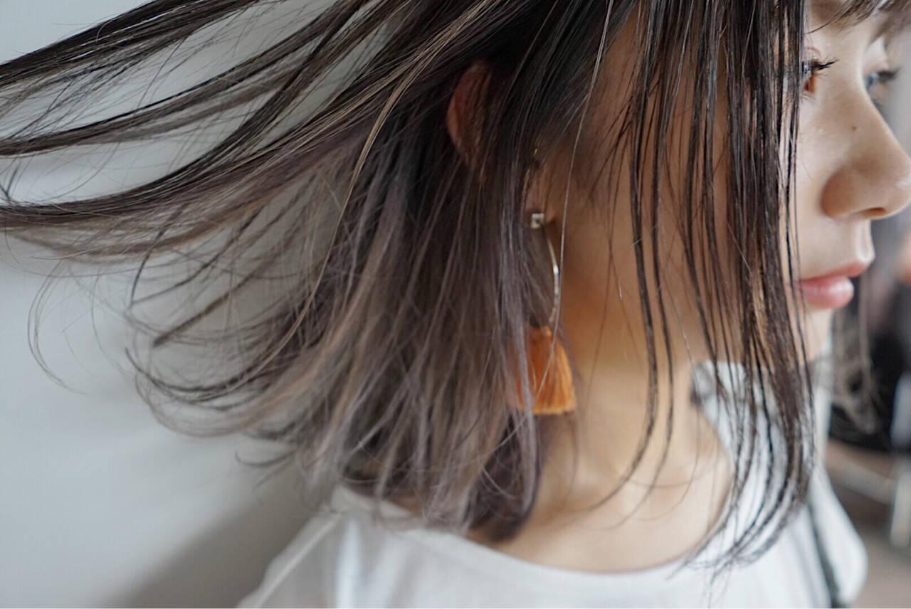 グレージュ 透明感 ボブ ミルクティーベージュヘアスタイルや髪型の写真・画像