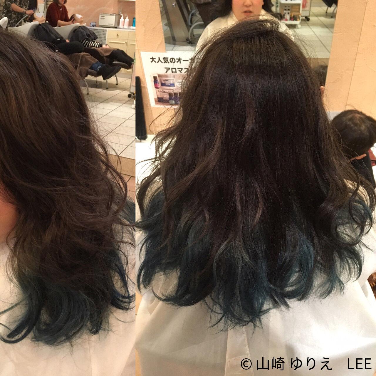 ストリート 暗髪 セミロング アッシュヘアスタイルや髪型の写真・画像