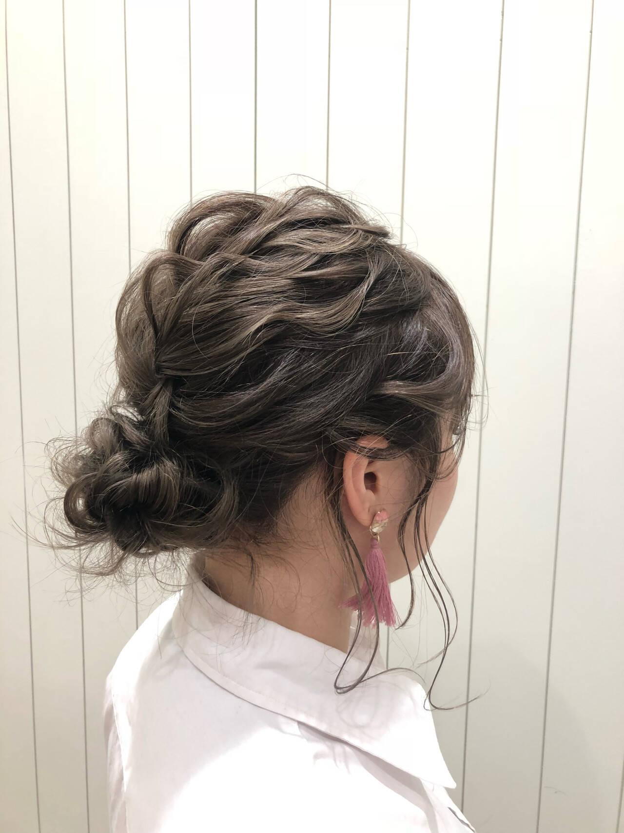 セミロング 簡単ヘアアレンジ 結婚式 デートヘアスタイルや髪型の写真・画像