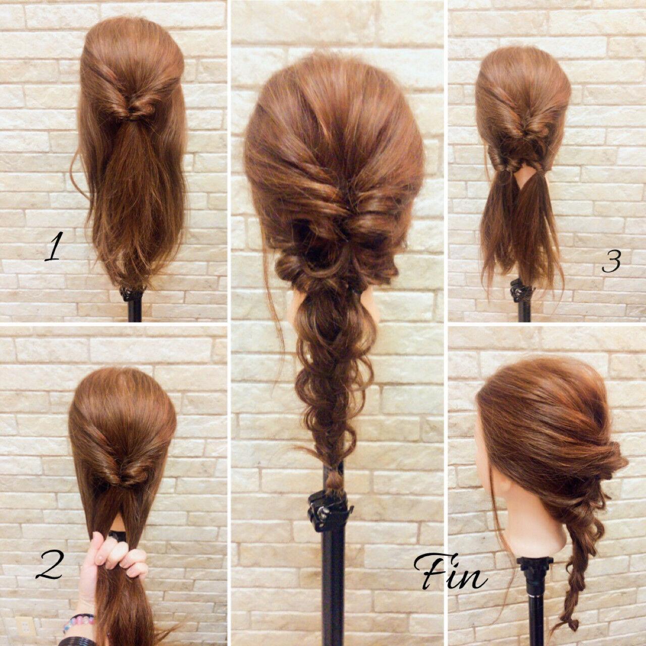 ミディアム 編み込み ヘアアレンジ 簡単ヘアアレンジヘアスタイルや髪型の写真・画像