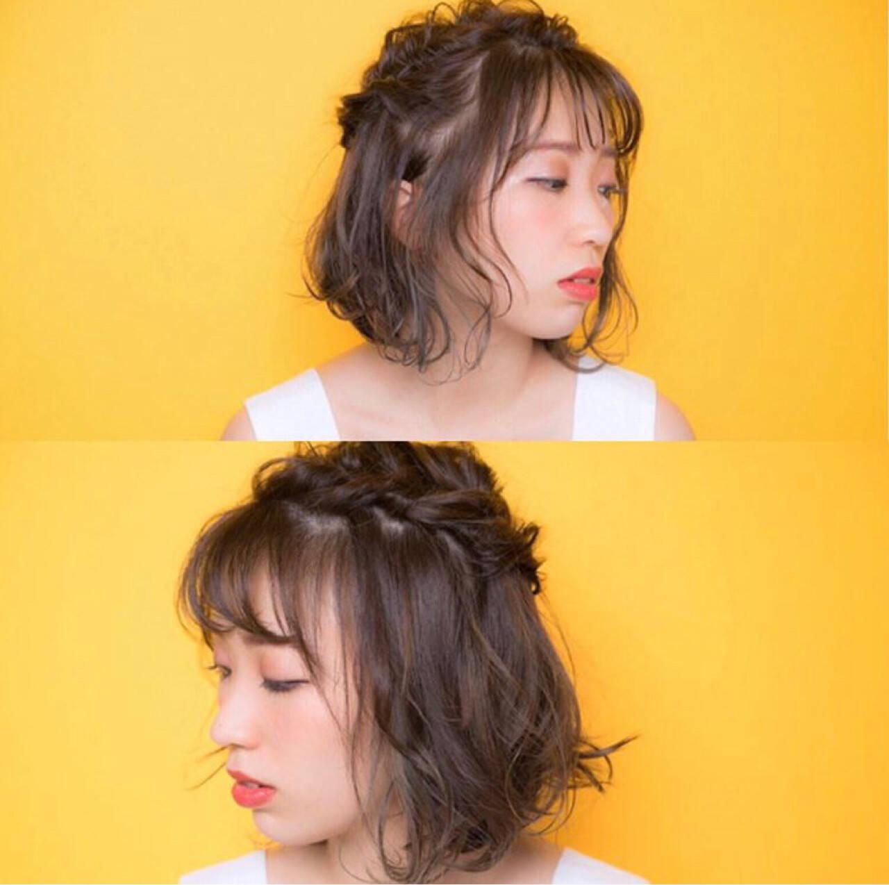 ハイライト フェミニン シースルーバング ボブヘアスタイルや髪型の写真・画像