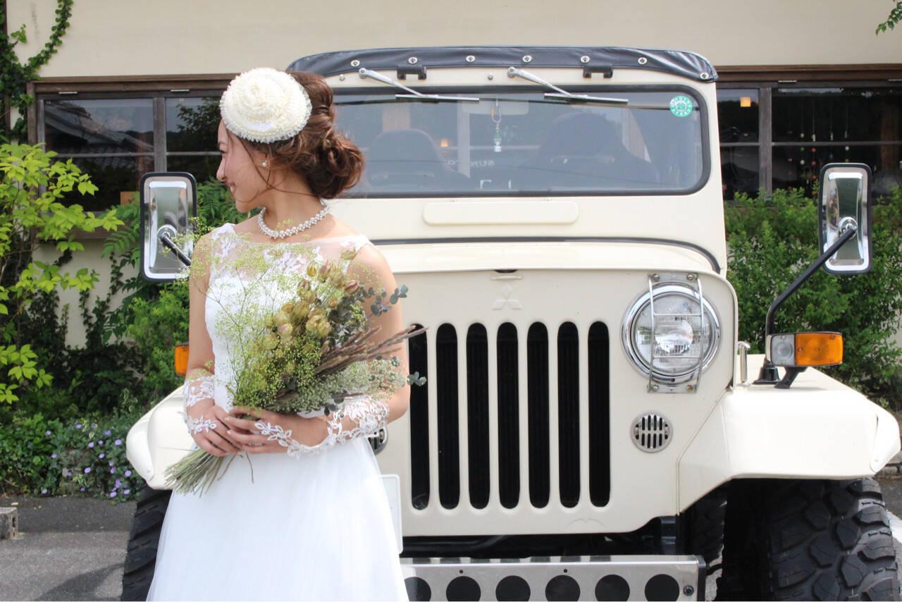 ブライダル ガーリー ヘアアレンジ 結婚式ヘアスタイルや髪型の写真・画像