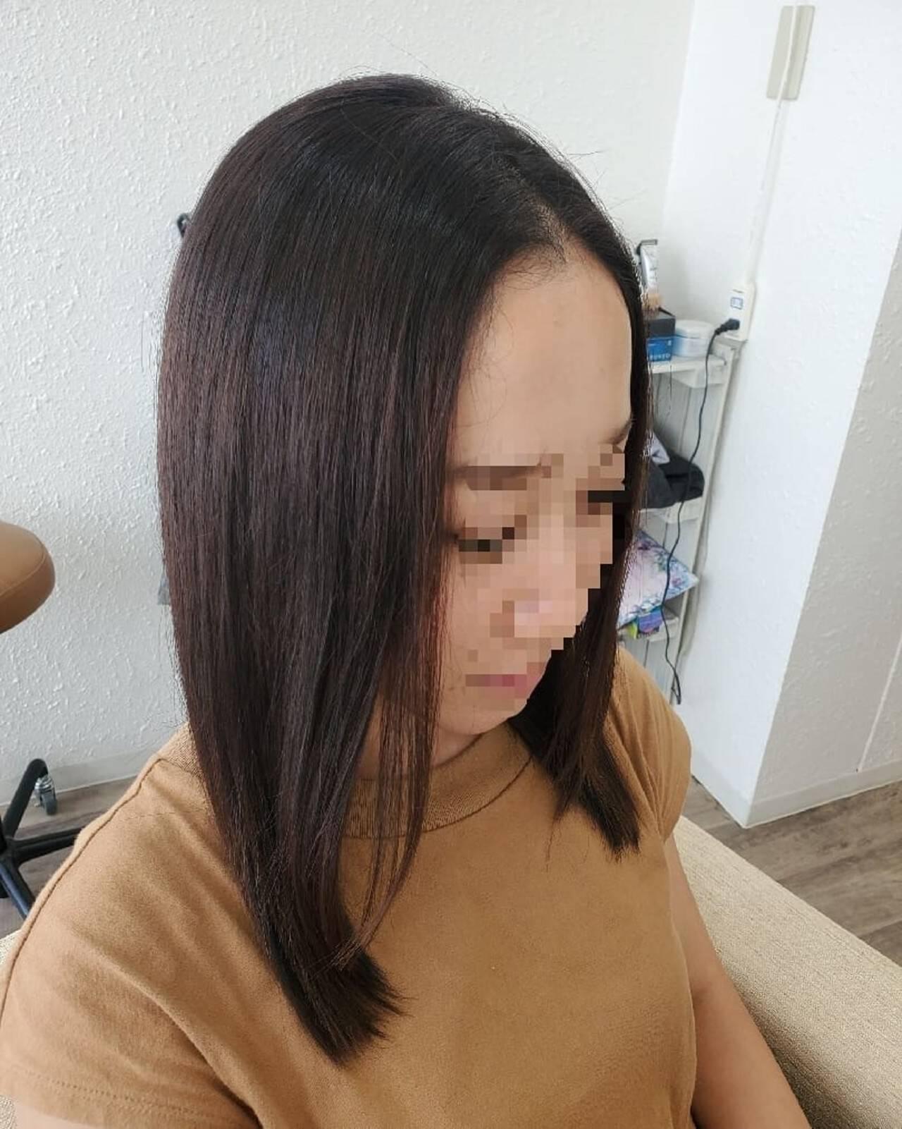 セミロング ナチュラル ストカール 縮毛矯正ストカールヘアスタイルや髪型の写真・画像