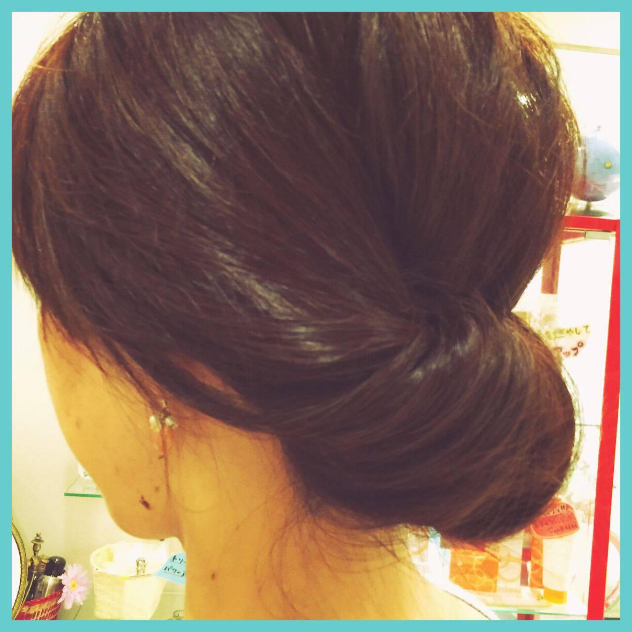 簡単ヘアアレンジ ギブソンタック ショート ミディアムヘアスタイルや髪型の写真・画像