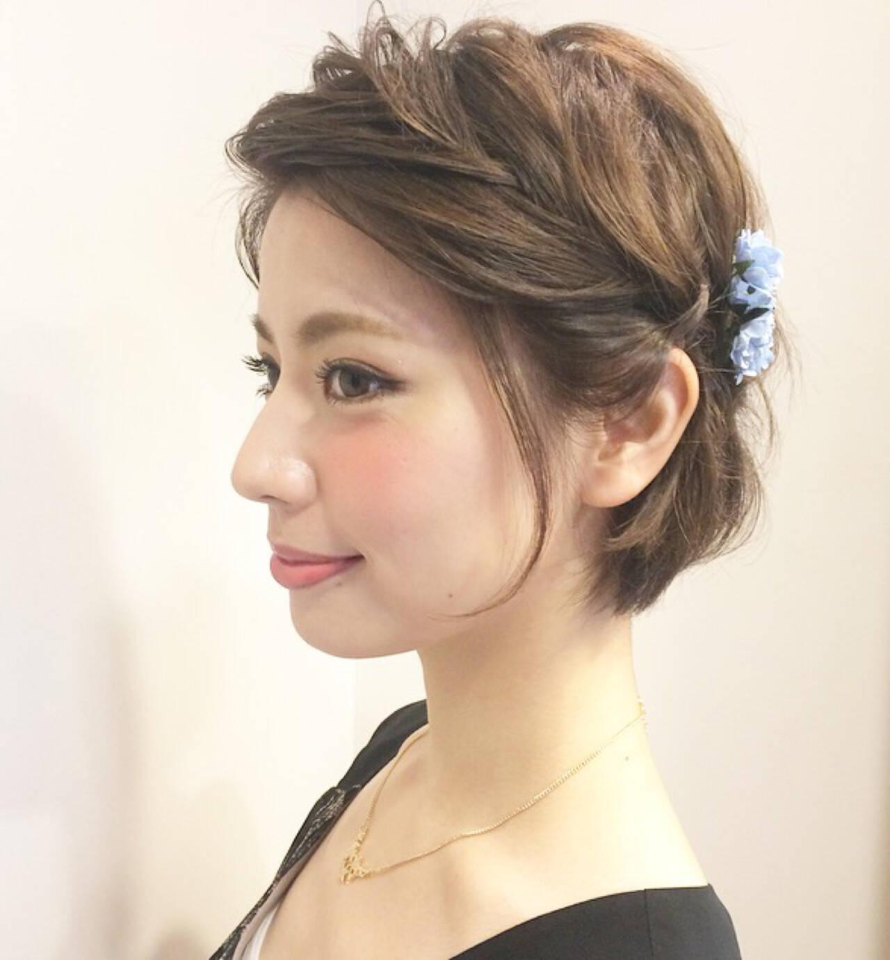 大人かわいい ショート ヘアアレンジヘアスタイルや髪型の写真・画像