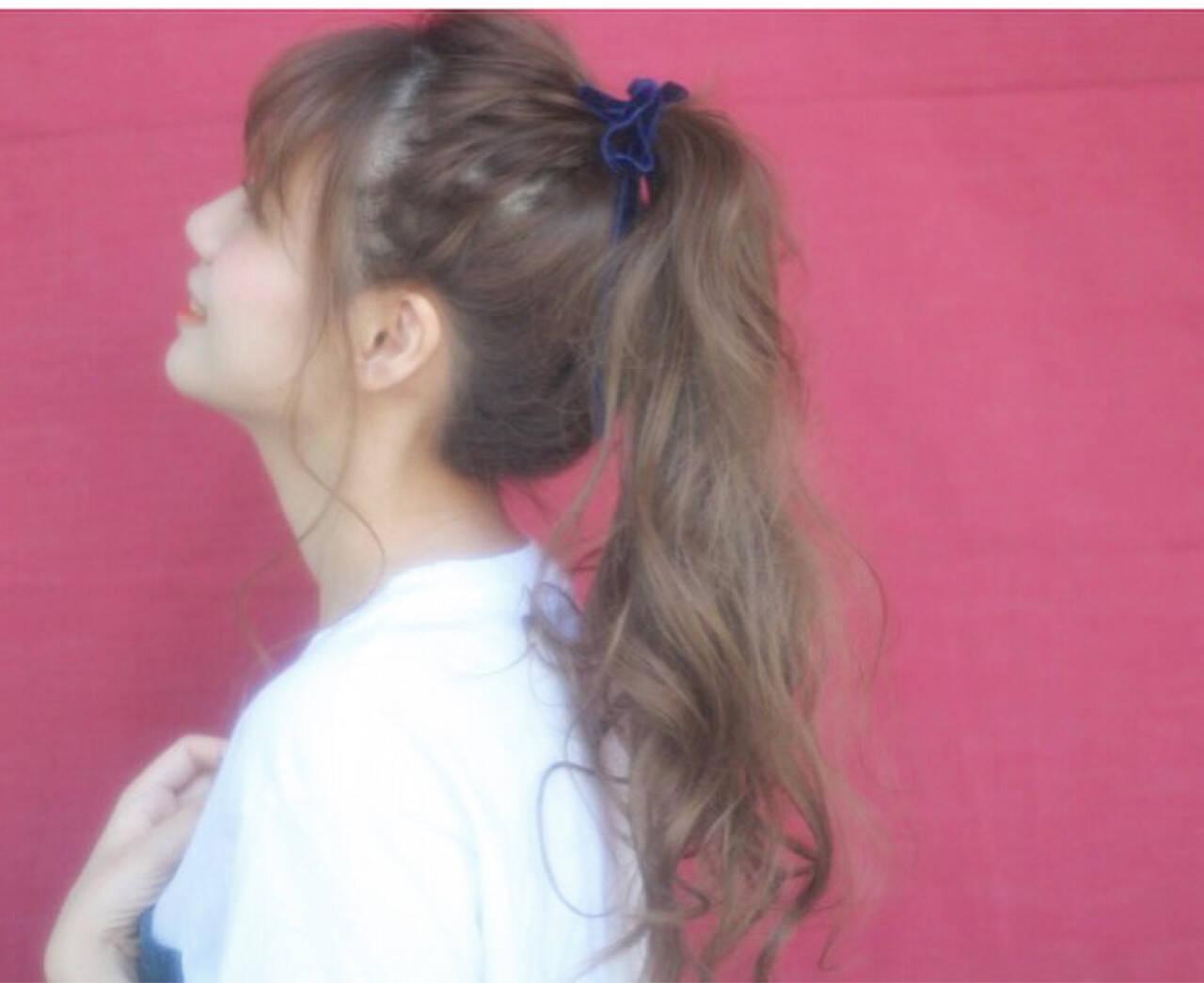 前髪あり くせ毛風 ピュア ロングヘアスタイルや髪型の写真・画像