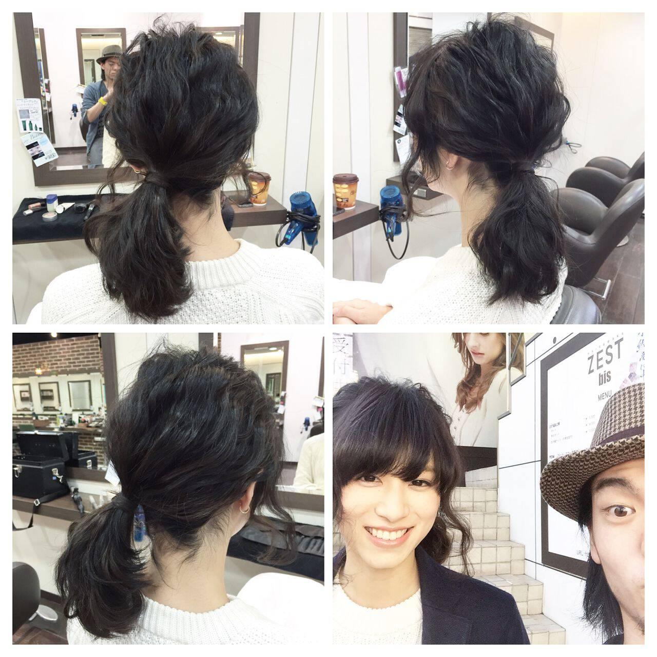 アップスタイル ヘアアレンジ ルーズ ショートヘアスタイルや髪型の写真・画像