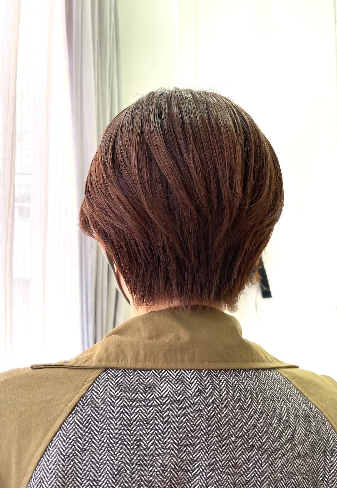 ミニボブ オレンジ 大人可愛い ショートヘアヘアスタイルや髪型の写真・画像