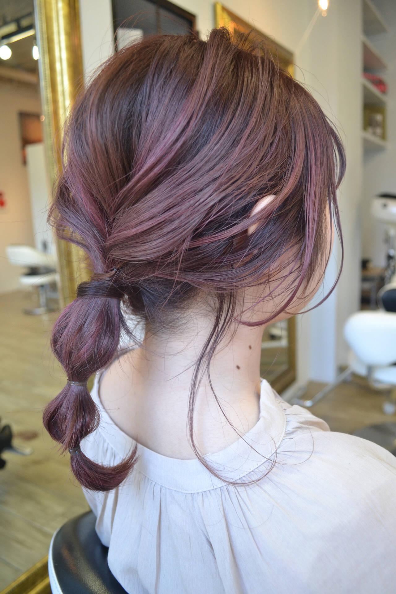 ストリート ミディアム ハイトーン ラベンダーピンクヘアスタイルや髪型の写真・画像