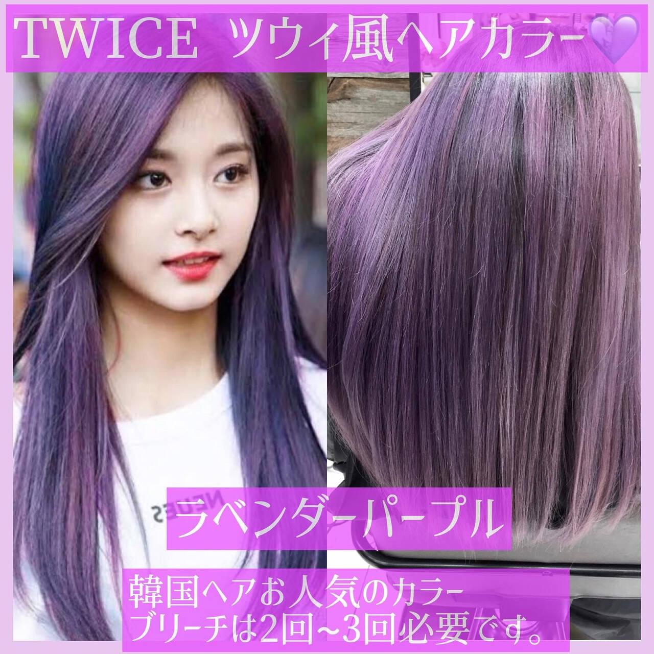 ラベンダーアッシュ ラベンダー 韓国ヘア ヨシンモリヘアスタイルや髪型の写真・画像