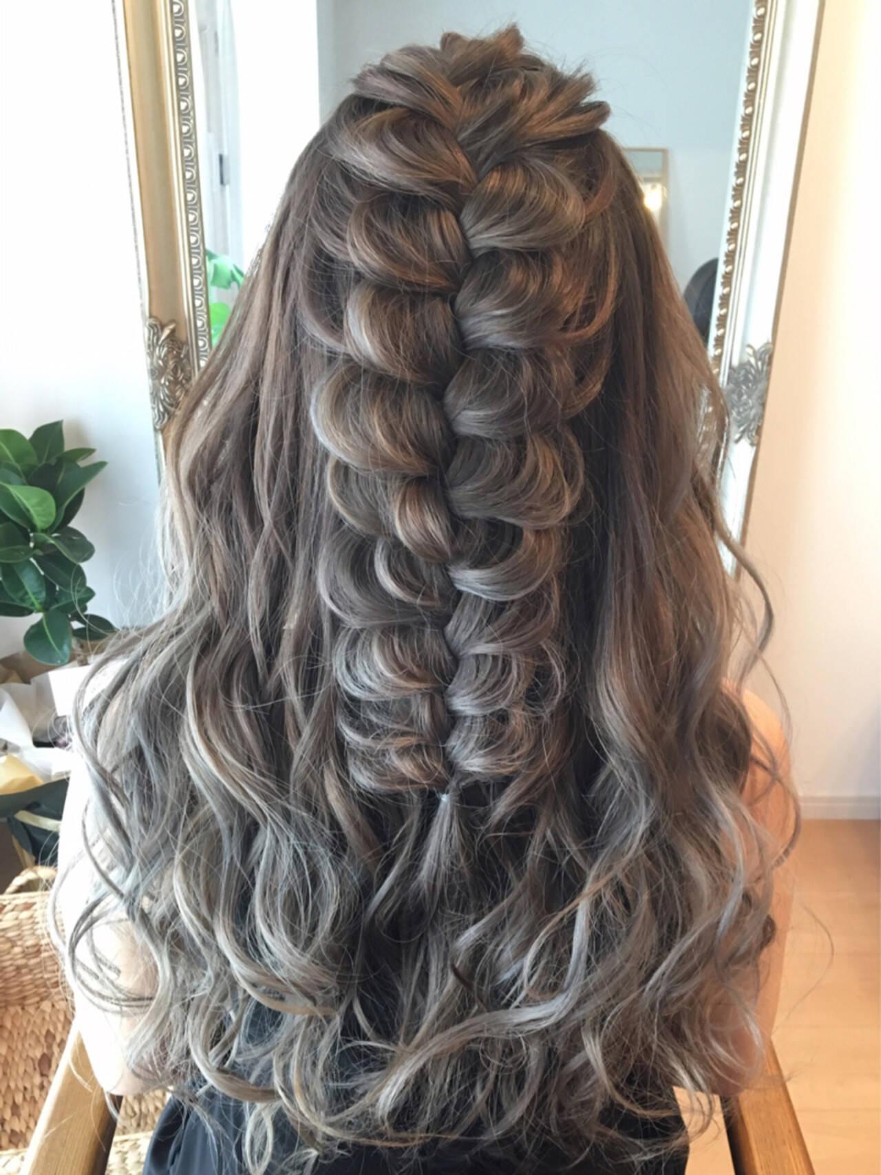 ブライダル ロング 編み込み ヘアアレンジヘアスタイルや髪型の写真・画像