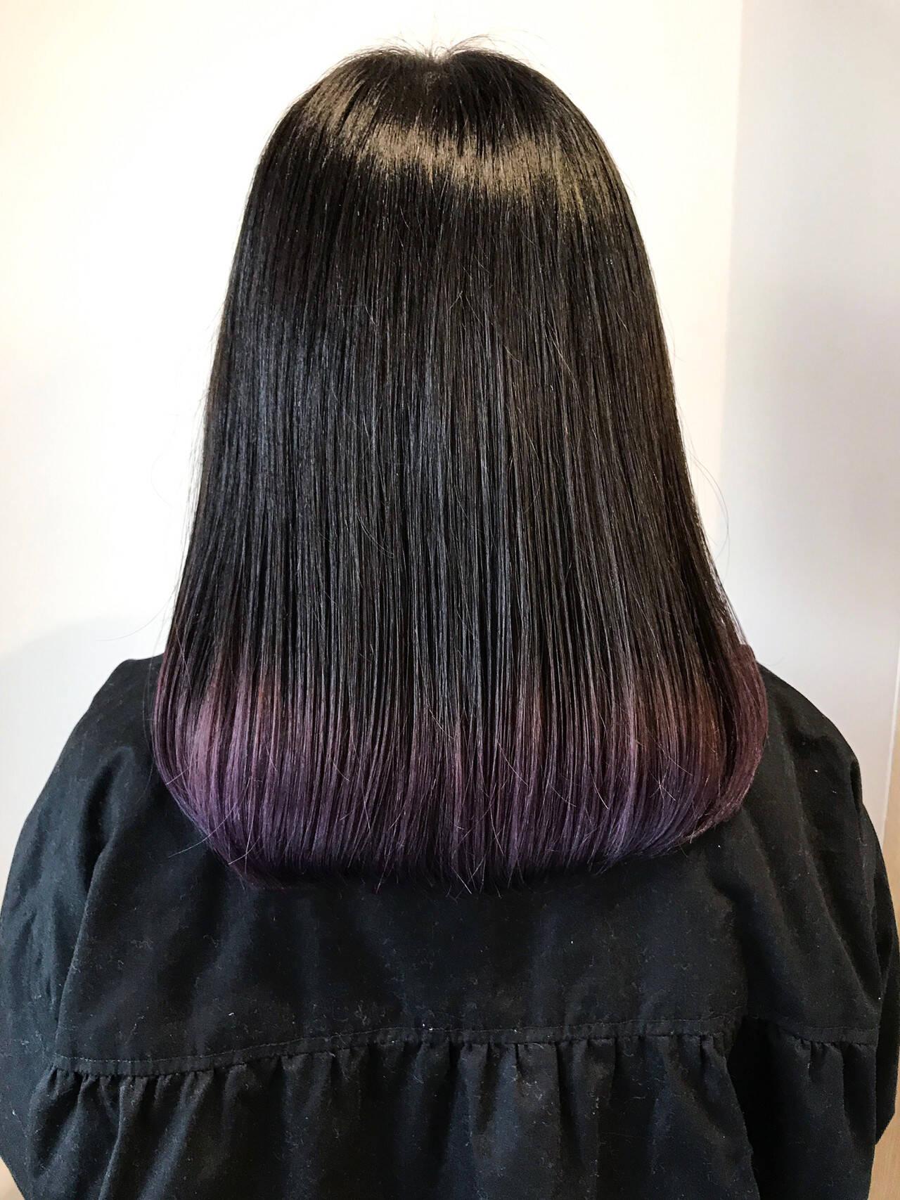 ラベンダー パープルカラー ラベンダーカラー セミロングヘアスタイルや髪型の写真・画像