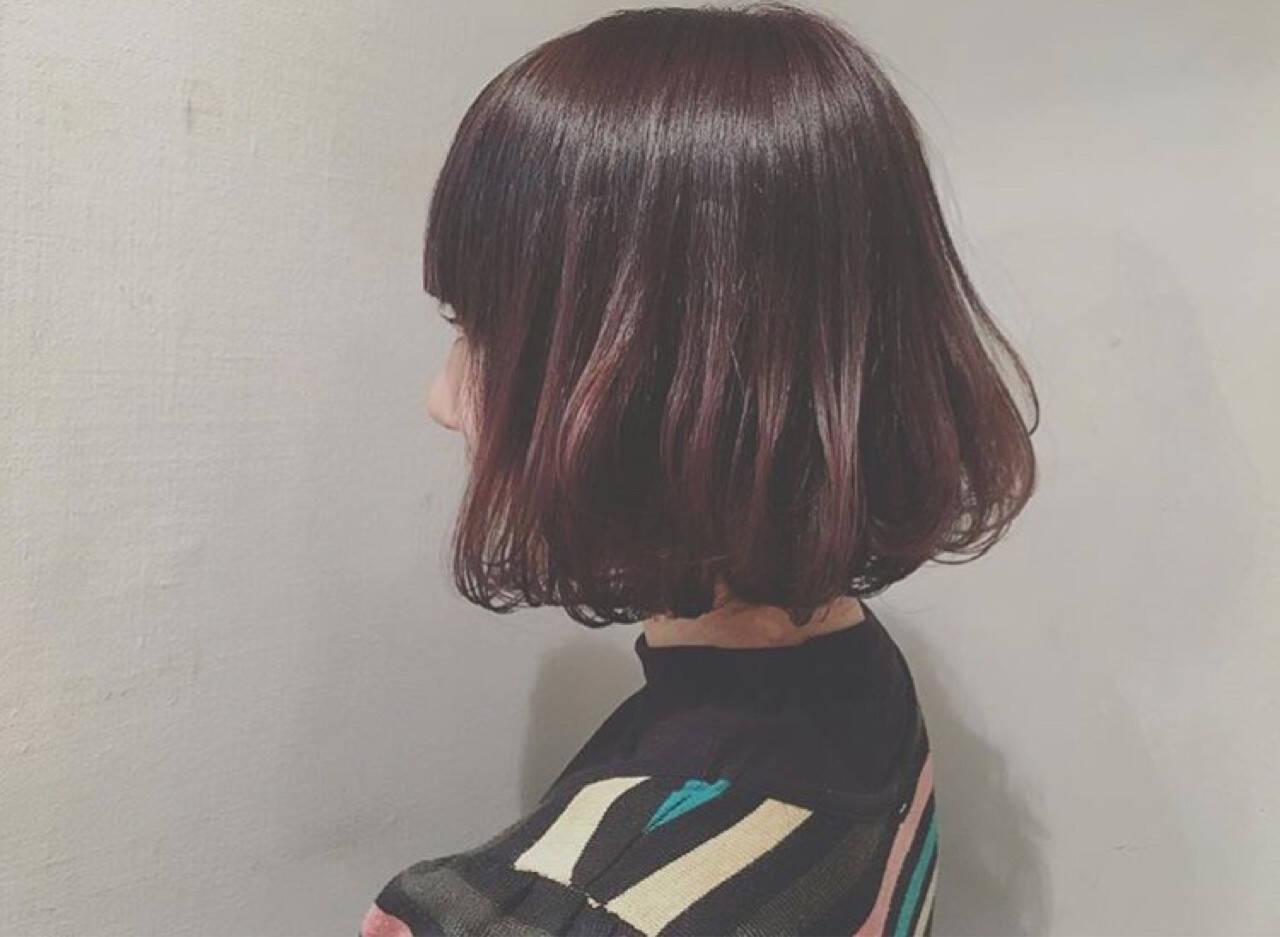 キュート ボブ ワンカール ナチュラルヘアスタイルや髪型の写真・画像