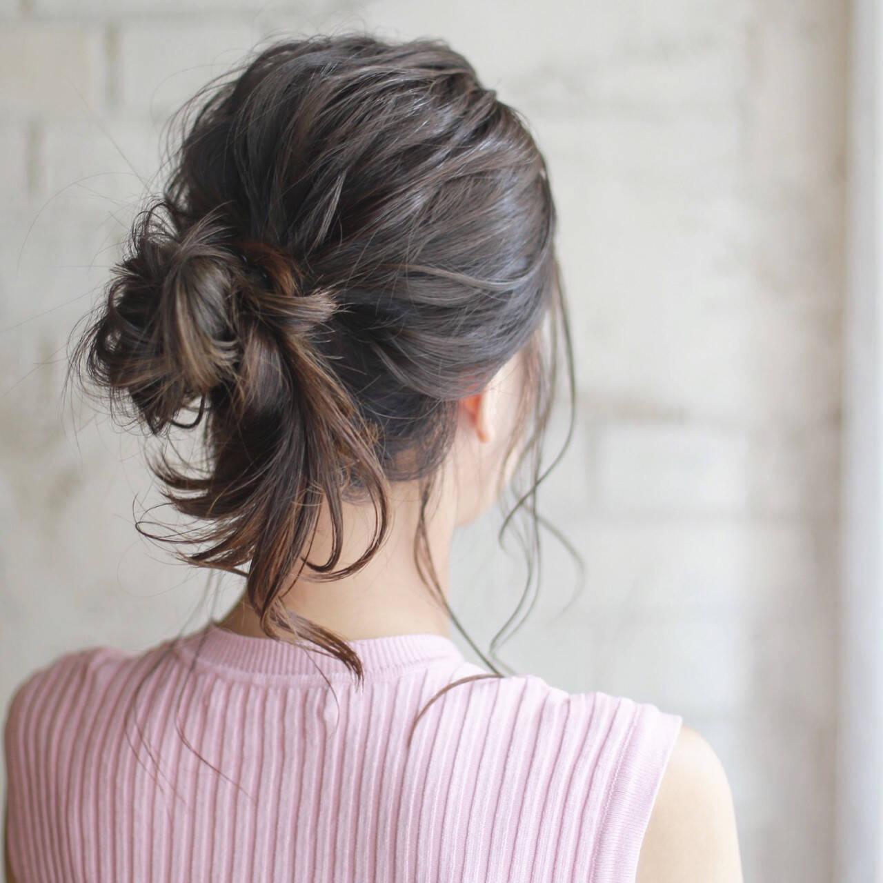 くせ毛風 簡単ヘアアレンジ ミディアム ショートヘアスタイルや髪型の写真・画像