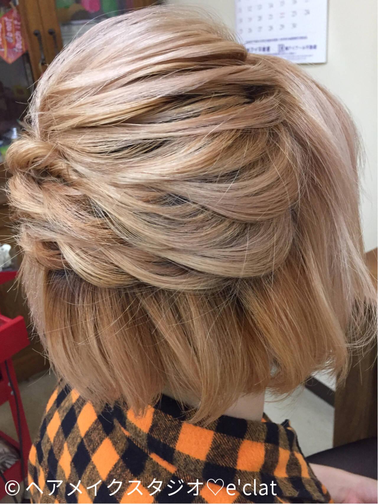 ショート ヘアアレンジ ゆるふわ 簡単ヘアアレンジヘアスタイルや髪型の写真・画像