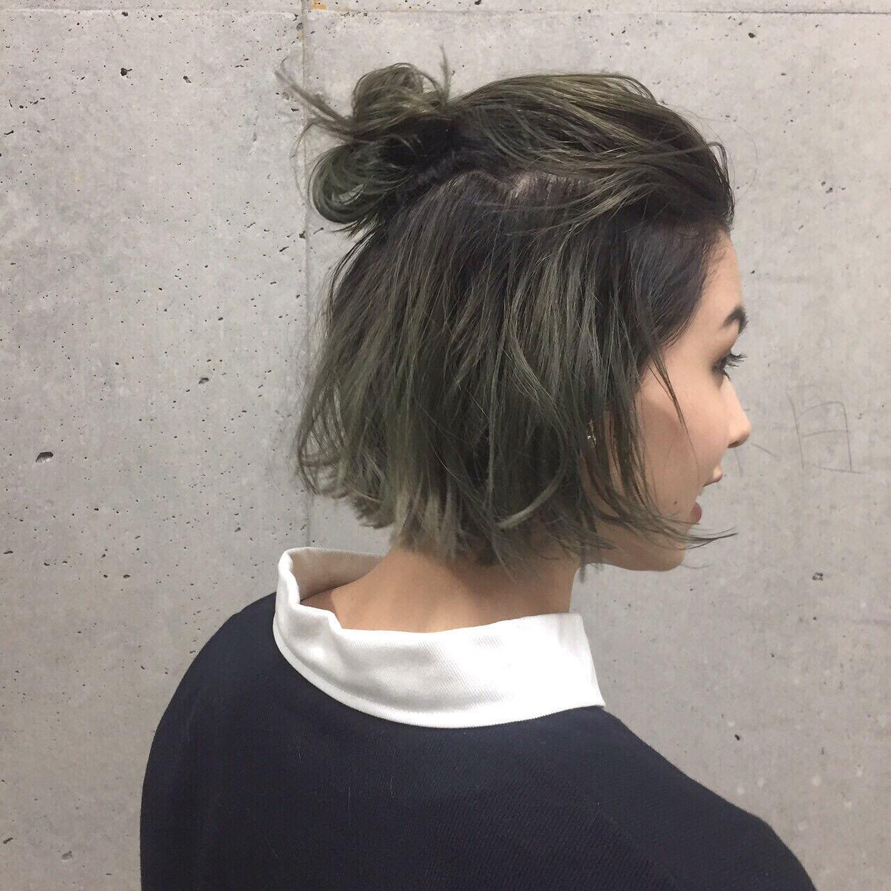 グラデーションカラー 簡単ヘアアレンジ ショート ヘアアレンジヘアスタイルや髪型の写真・画像
