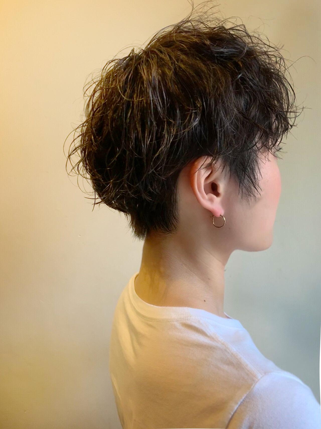 黒髪 ナチュラル マッシュショート ショートヘアスタイルや髪型の写真・画像